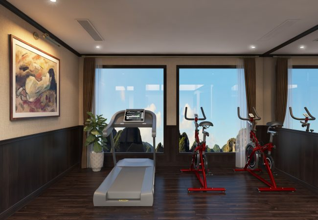 The gym and some cardio equipment facing the large windows overlooking the ocean