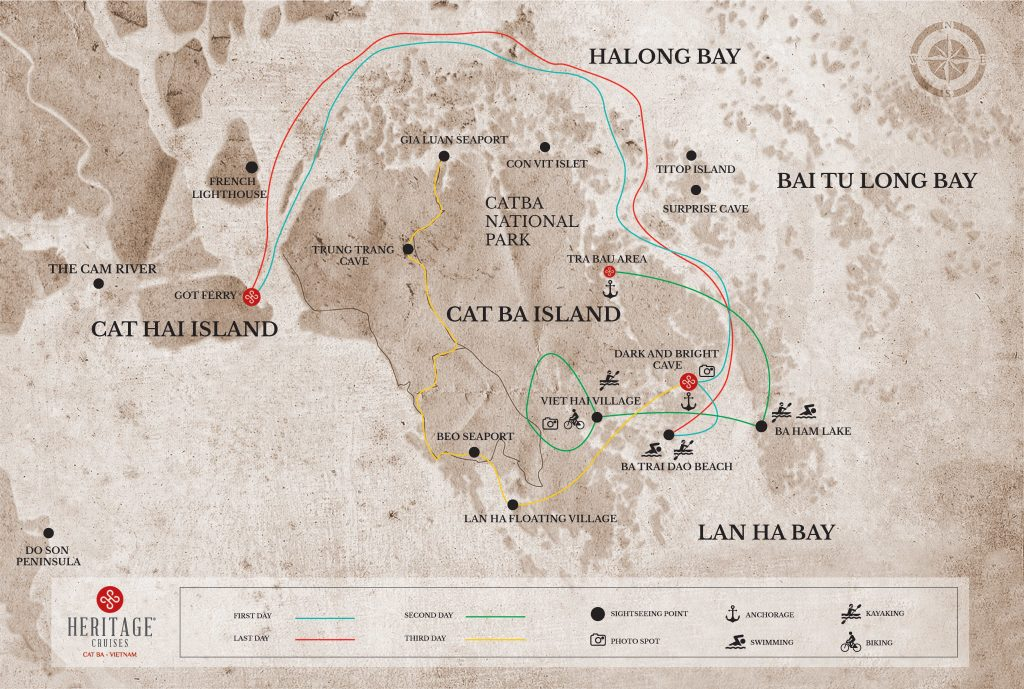A map of Lan Ha and Halong Bay with the different itineraries of Heritage Cruises